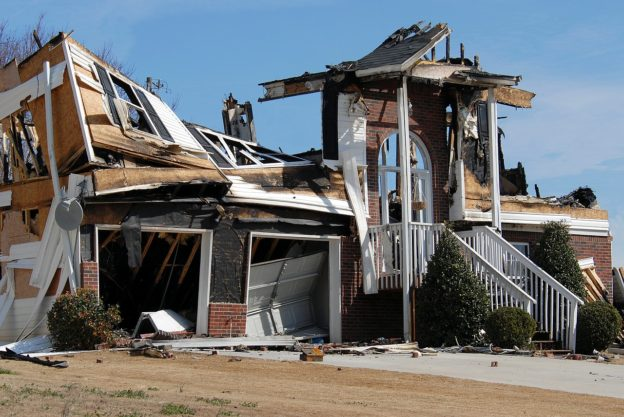 House wreckage post fire